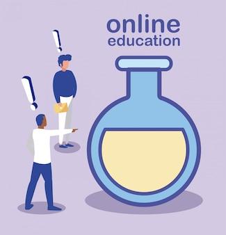 Hombres con icono de investigación, educación en línea.