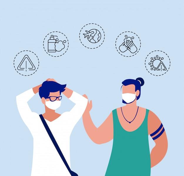 Hombres con iconos de protección y síntomas de coronavirus