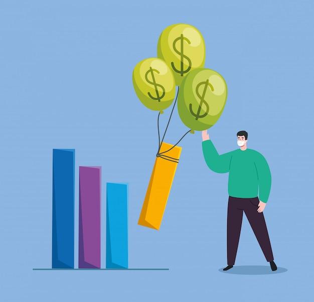 Hombres con infografía de recuperación financiera