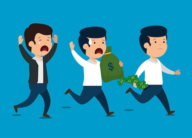 Hombres con informe financiero empresarial y dinero