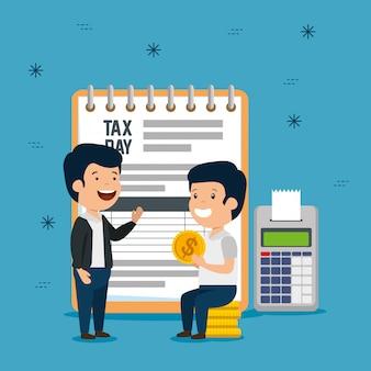 Hombres con informe de impuestos de servicio y teléfono de datos