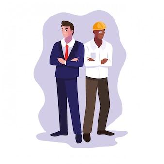 Hombres de ingeniero de dibujos animados de avatar