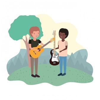 Hombres con instrumentos musicales en el paisaje