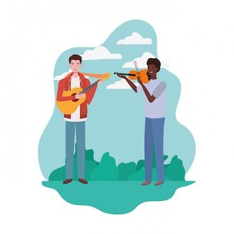 Hombres con instrumentos musicales y paisaje.
