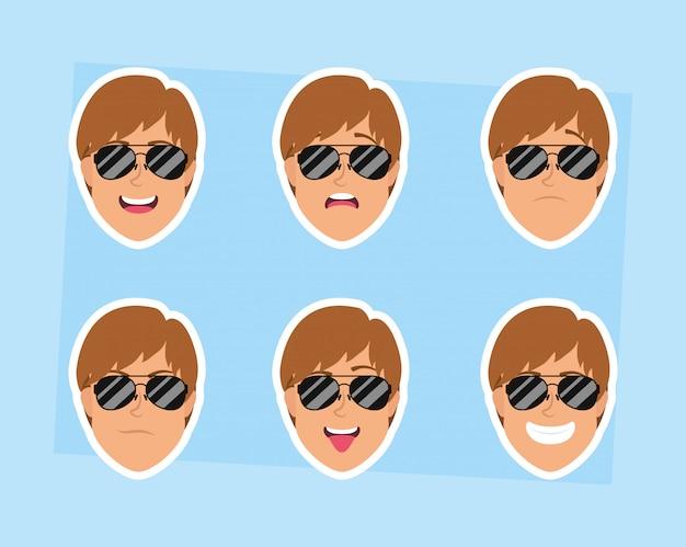 Hombres jóvenes cabezas con personajes de gafas de sol