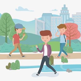 Hombres jóvenes caminando en el parque avatares personajes.