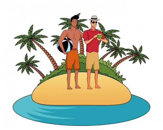 Hombres jóvenes en caricaturas de verano.