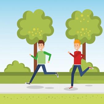 Hombres jóvenes corriendo en el parque