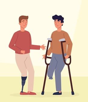 Hombres jóvenes discapacitados