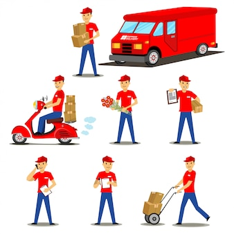 Hombres jóvenes de entrega en varias poses con cajas de cartón, flores, portapapeles, carretilla, en un scooter y un camión de reparto. conjunto de personajes de dibujos animados de vector.