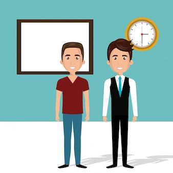 Hombres jóvenes en la escena de personajes del aula