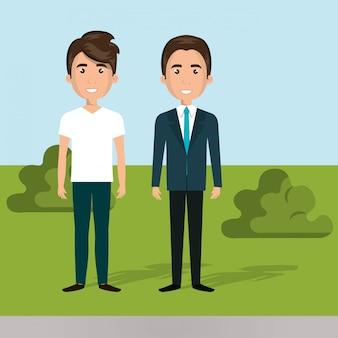 Hombres jóvenes en la escena de personajes de campo