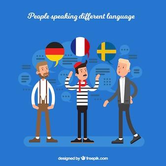 Hombres jóvenes hablando distintos idiomas con diseño plano