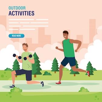 Hombres jóvenes haciendo ejercicios al aire libre, ejercicio de recreación deportiva