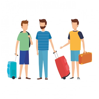 Hombres jóvenes con maletas de viaje.