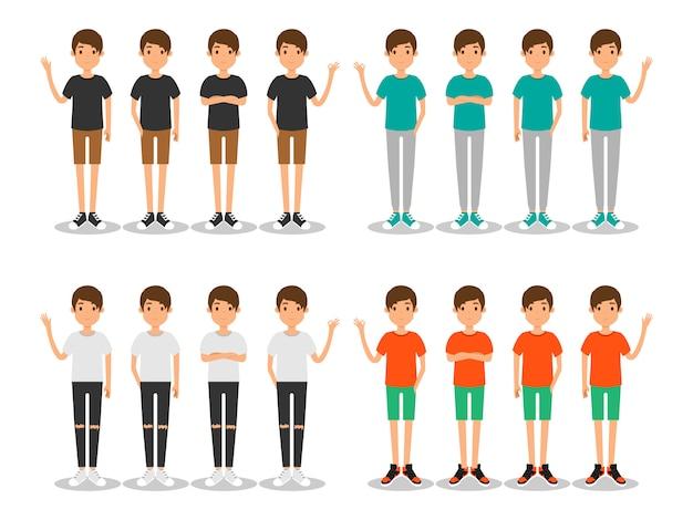 Hombres jóvenes moda moderna plana avatar.