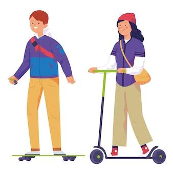 Los hombres jóvenes montan patinadores eléctricos y las mujeres montan patinetes eléctricos