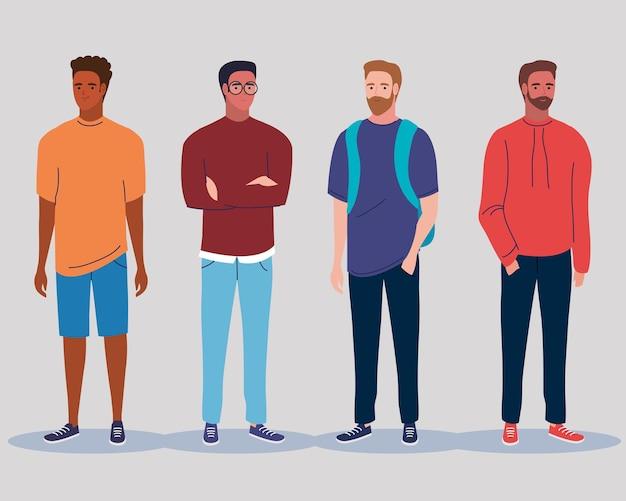 Hombres jóvenes multirracales