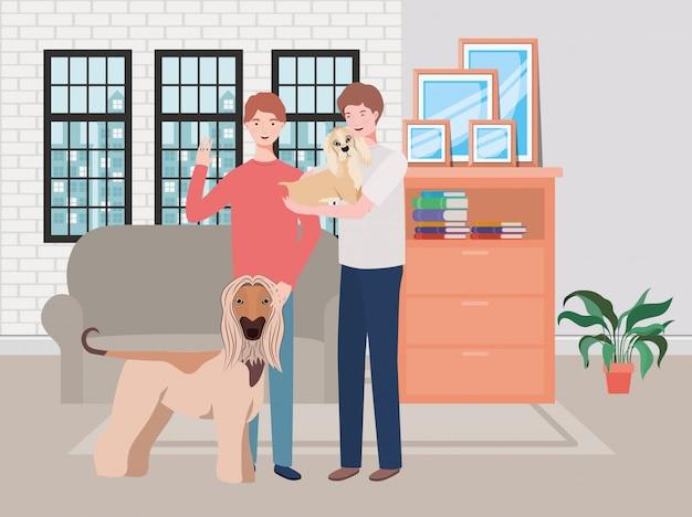 Hombres jóvenes con perros lindos mascotas en la sala de estar