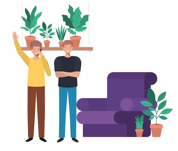 Hombres jóvenes en personaje de avatar de sala de estar