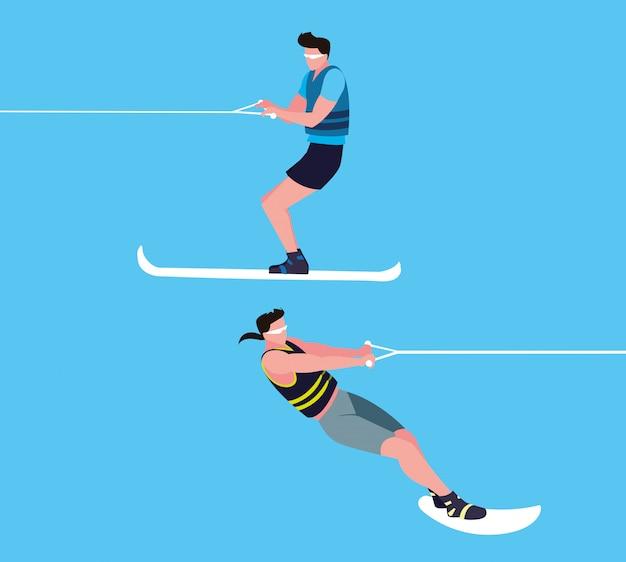 Hombres jóvenes practicando esquí acuático