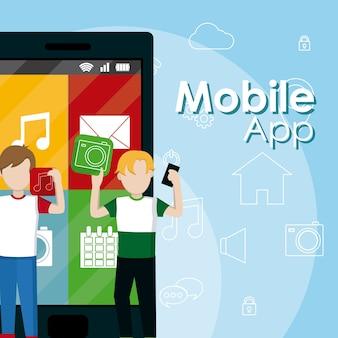 Hombres jóvenes que usan aplicaciones móviles con teléfonos inteligentes