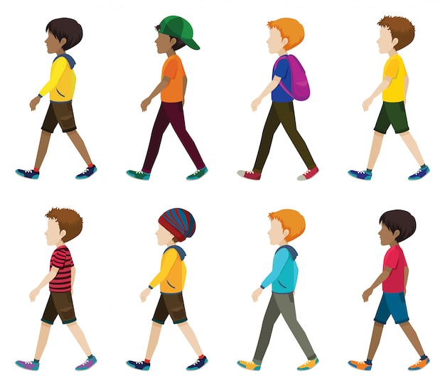 Hombres jóvenes sin rostro caminando
