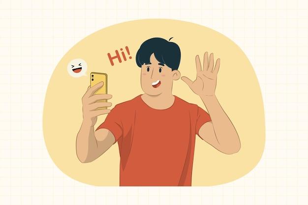 Los hombres jóvenes usan un concepto de teléfono móvil facetime