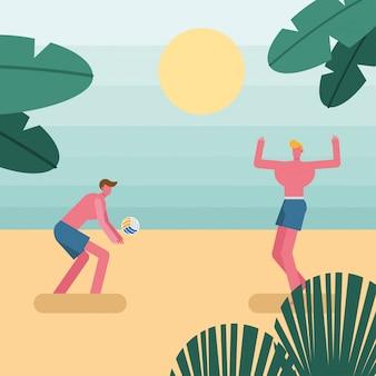 Hombres jóvenes vistiendo traje de baño jugando personajes de voleibol