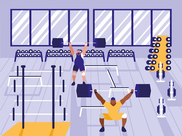 Hombres levantando pesas en el gimnasio deportivo