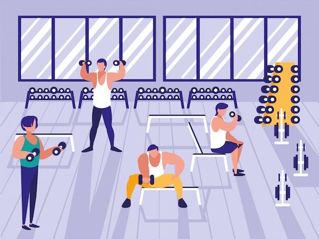 Hombres levantando pesas en el gimnasio