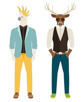 Hombres con loros y cabezas de ciervo.