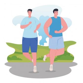 Hombres maratonistas corriendo deportivos, jóvenes corren competencia o maratón carrera ilustración