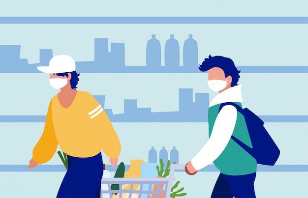 Hombres con máscaras en el supermercado frente a los estantes