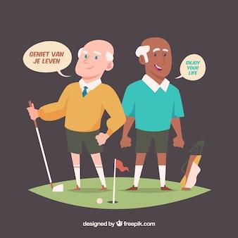 Hombres mayores hablando distintos idiomas con diseño plano