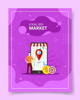 Los hombres del mercado local de seo se colocan frente a la ubicación del puntero del teléfono inteligente gigante en la pantalla, póster.
