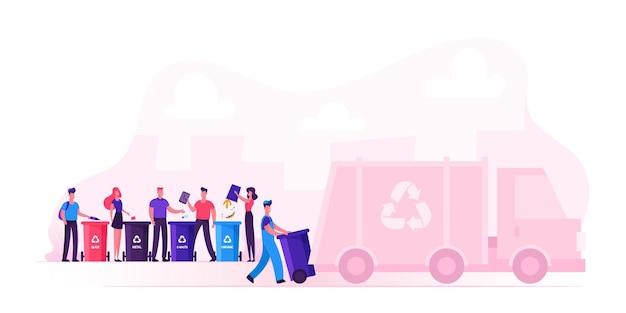 Hombres y mujeres arrojan bolsas a contenedores de reciclaje para separar la basura. ilustración plana de dibujos animados
