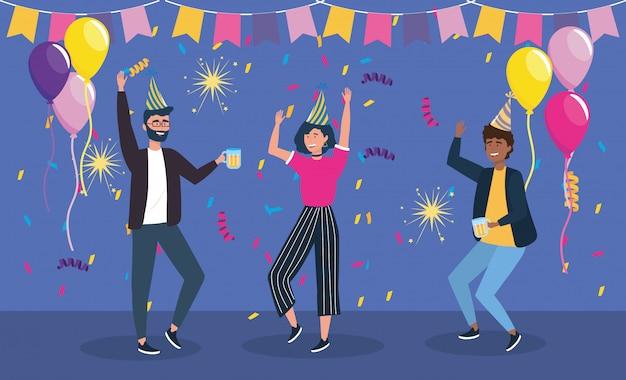 Hombres y mujeres bailando en fiesta