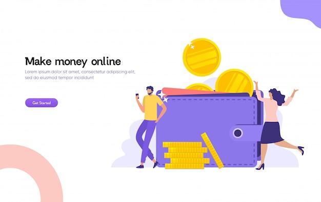 Hombres y mujeres con billetera grande y pila de monedas, pago en línea, concepto de ilustración de billetera digital de transferencia electrónica