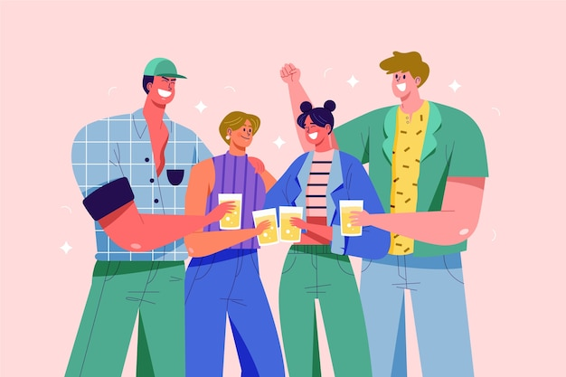 Hombres y mujeres brindando juntos ilustración