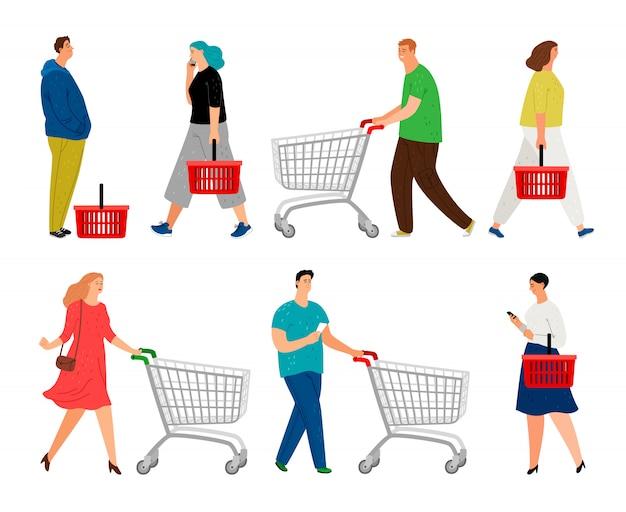 Hombres y mujeres con carritos de compras y cestas de mercado.