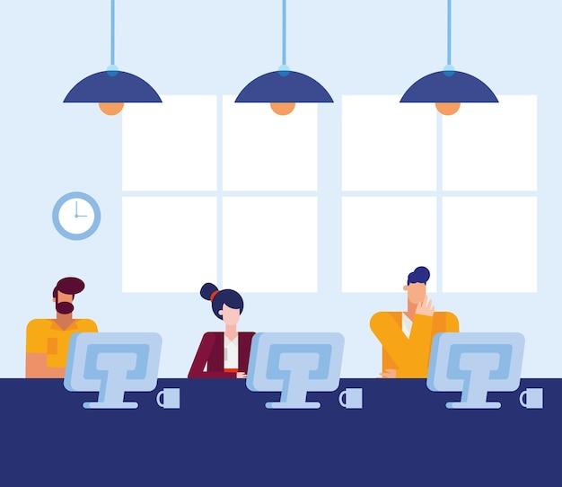 Hombres y mujeres con computadoras en el escritorio en el diseño de la oficina, la fuerza laboral de los objetos comerciales y el tema corporativo