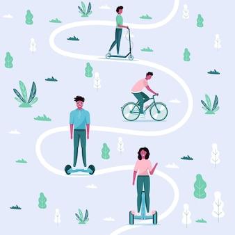 Hombres y mujeres conducen el transporte ecológico de la ciudad en un parque público. transporte eléctrico personal, electro scooter verde, hoverboard, gyroscooter, monociclo y bicicleta. vehículo ecológico, concepto de vida de la ciudad.