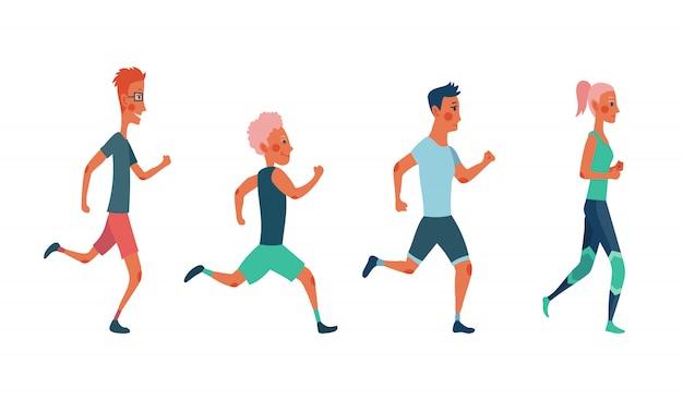 Hombres y mujeres corriendo maratón. grupo de personas vestidas con ropa deportiva