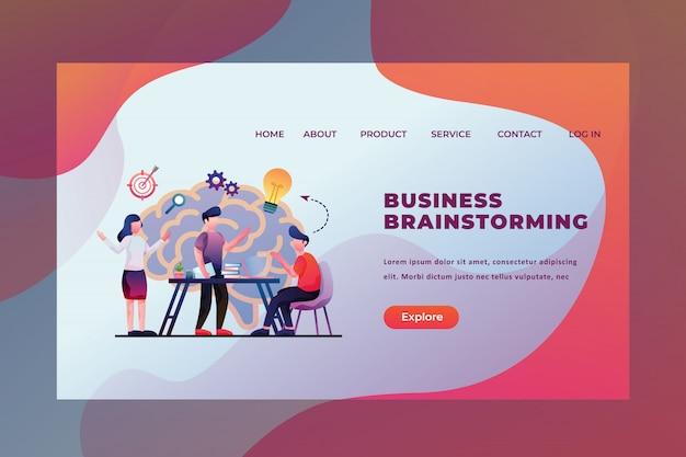 Hombres y mujeres discuten su proyecto de lluvia de ideas sobre negocios idea página web encabezado página de inicio