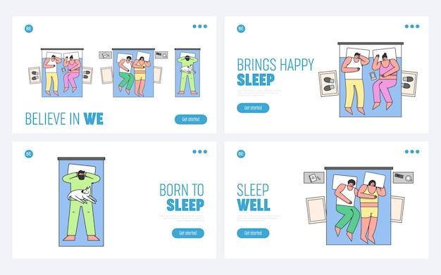Hombres y mujeres duermen en la cama en casa