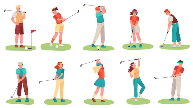 Hombres y mujeres entrenando con palos de golf en pasto verde
