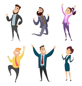 Hombres y mujeres felices empresarios en acción plantea