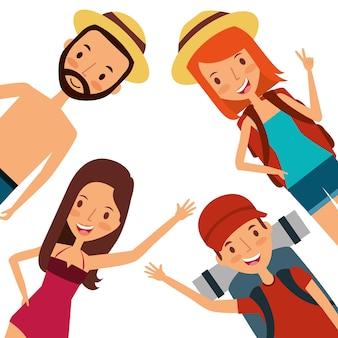 Hombres y mujeres felices vacaciones viajes turísticos ropa
