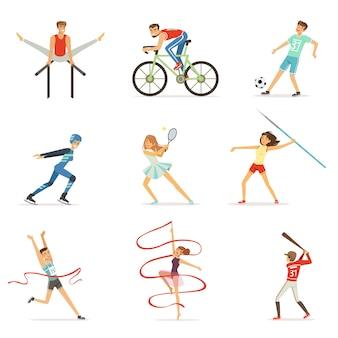 Hombres y mujeres haciendo varios tipos de deportes, deportistas ilustraciones coloridas